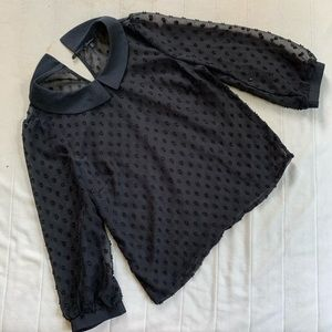 Anthropologie Monteau Black Dotted Blouse